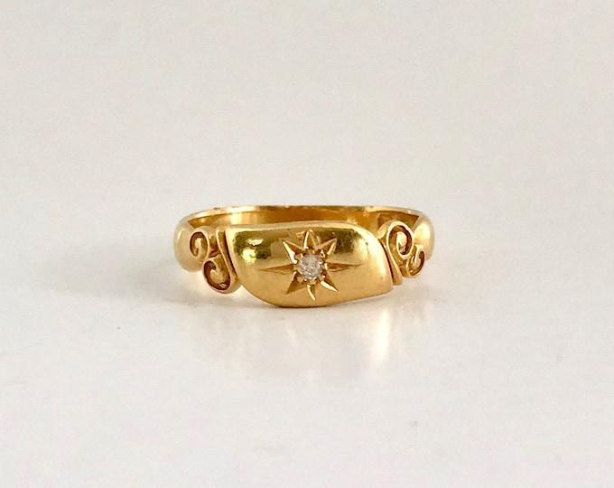 Victorian Diamond Band Ring, Hallmarked Diamond Ring, Antique English Diamond Band Ring, 18 Karat Yellow Gold
