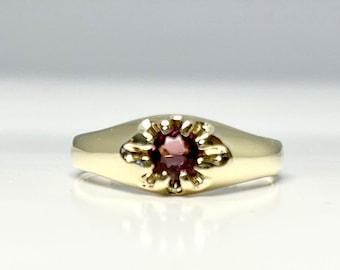 Antique Yellow Gold Tourmaline Belcher Ring, Vintage Tourmaline Ring, Antique Belcher Ring, Pink Tourmaline Ring