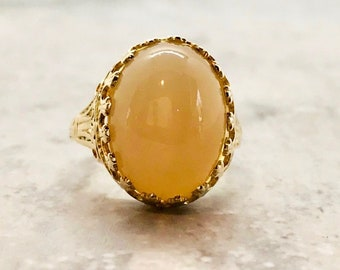 Vintage Yellow Gold Caramel Color Moonstone Ring, Yellow Gold Moonstone Ring