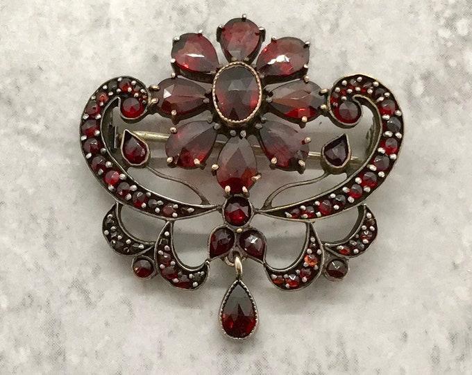 Bohemian Garnet Pin/Brooch, Garnet Pin, Antique Garnet Pin, Antique Jewelry