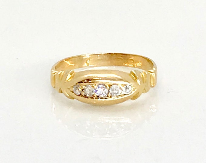 Yellow Gold Diamond Old English Band Ring, Hallmarked Ring, English Hallmarked Diamond Ring, Antique English Ring