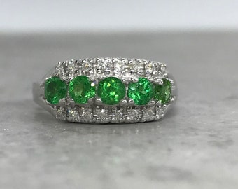 14 Karat White Gold Tsavorite and Diamond Ring