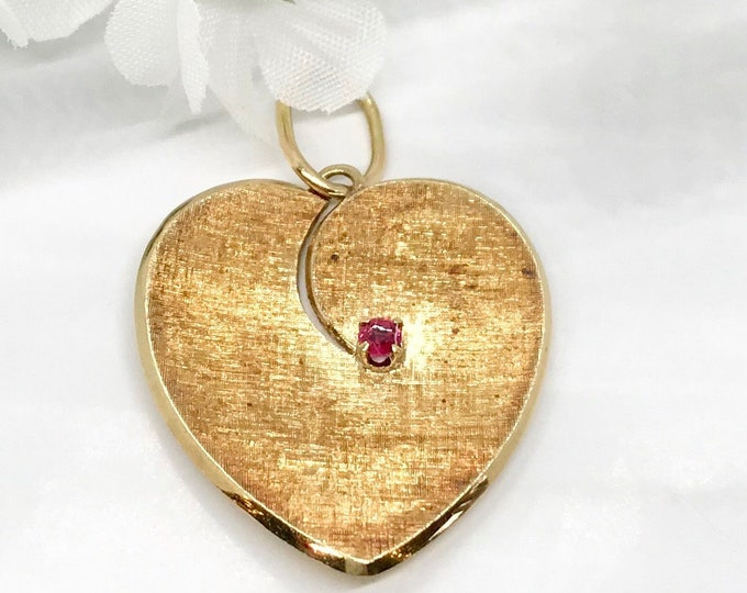 Yellow Gold Brushed Finished Heart Charm/Pendant with Genuine Ruby, July Birthstone Pendant, Heart Charm, Heart Pendant