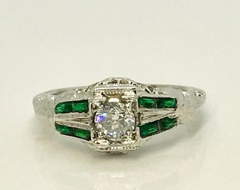 White Gold Diamond and Synthetic Emerald Ring, Filigree Diamond Engagement Ring, Diamond Filigree Ring, Engagement Ring