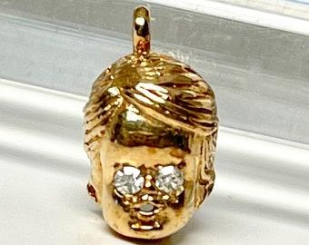 Yellow Gold Diamond Child's Head Charm, Child's Head Pendant, Vintage Child's Head Pendant with Diamond Eyes, Vintage Charm of Child