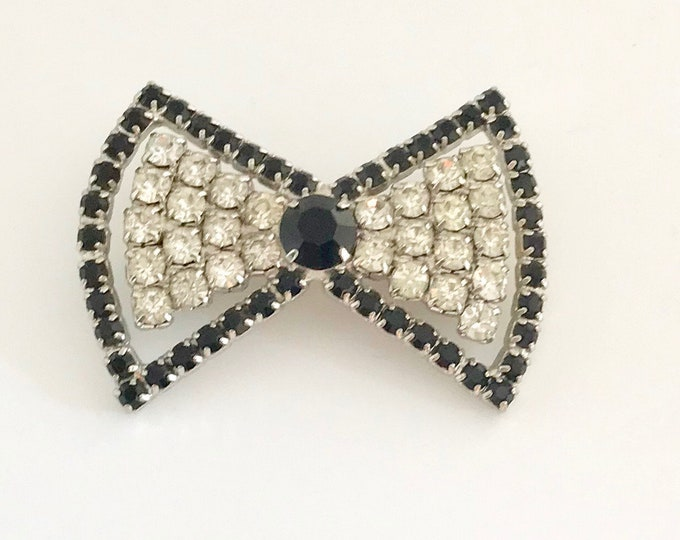 Black and White Rhinestone Bow Tie Pin, Bow Tie Pin, Rhinestone Pin, Bow Tie Brooch