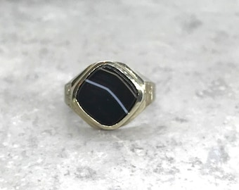 White Gold Agate Ring, Banded Black Onyx Ring, Banded Agate Ring