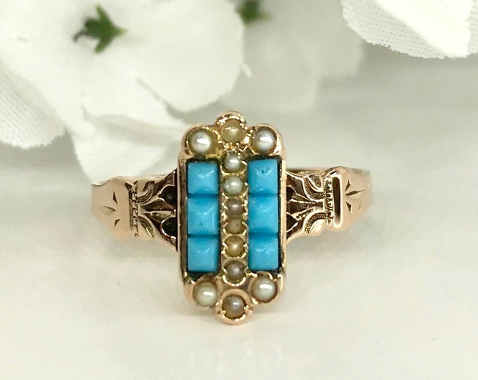 Victorian Turquoise and Seed Pearl Ring, Antique Turquoise Ring, December Birthstone Ring