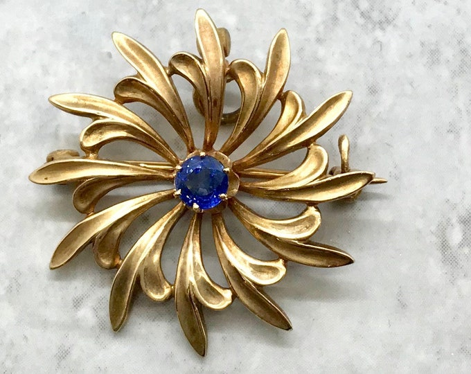 Yellow Gold Blue Sapphire Sunburst Pin/Pendant, Antique Sunburst Pin, Victorian Sunburst Pendant