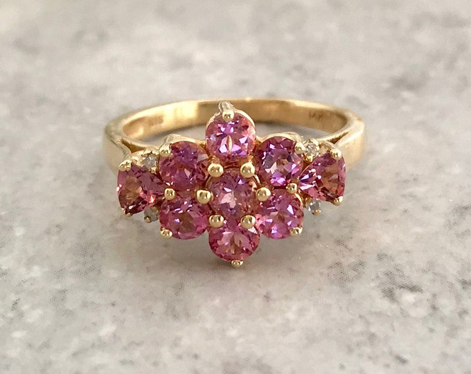 Yellow Gold Pink Tourmaline Ring, Alternate Birthstone for October, October Birthstone Ring, Vintage Tourmaline Ring