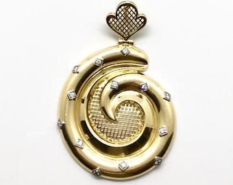 Yellow Gold and Diamond Spiral Design Pendant, Vintage Gold and Diamond Pendant, Vintage Pendant, Hallmarked Diamond Pendant