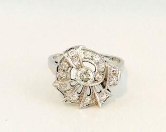14 Karat White Gold Diamond Cocktail Ring, Vintage Diamond Ring, 1940's Diamond Cocktail Ring, Dinner Ring
