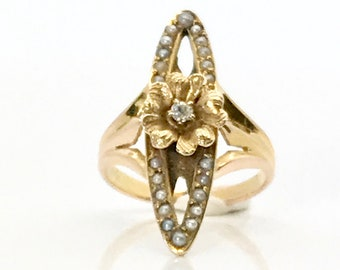 Yellow Gold Seed Pearl and Old Mine Cut Diamond Ring, Victorian Diamond and Pearl Ring, Pearl and Diamond Ring