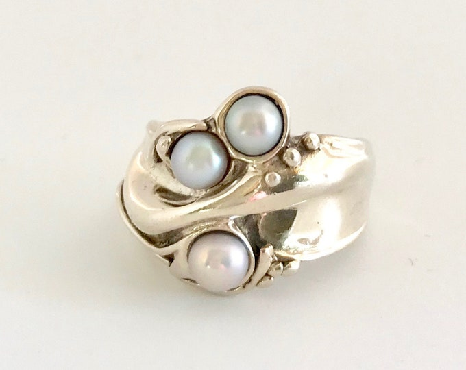Sterling Silver Pearl Ring, Free Form Pearl Ring, Sterling Silver Free Form Ring, Sterling Silver Ring