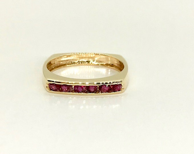 Yellow Gold Ruby Band Ring, Ruby Stacking Ring, Ruby Wedding Band Ring, Vintage Ruby Band Ring