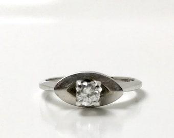 White Gold Diamond Wedding Set, Diamond Engagement Ring, Vintage Diamond Wedding Set