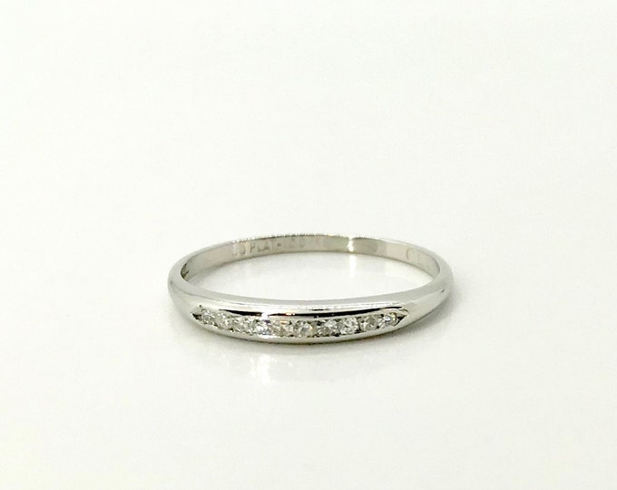 Platinum Diamond Wedding Band Ring, Diamond Stacking Ring, Platinum Wedding Band, Platinum Diamond Stacking Ring