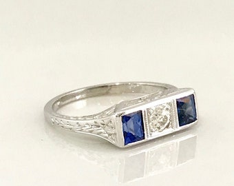 Art Deco White Gold Sapphire and Diamond Ring, Antique Sapphire Ring, Vintage Ring, Sapphire and Diamond Ring