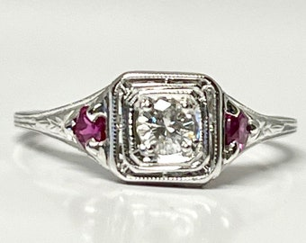 White Gold Diamond and Ruby Filigree Ring, Antique Filigree Ring, Edwardian Filigree Diamond Ring with Ruby Accents
