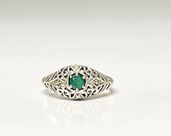 Vintage Sterling Silver Filigree Emerald Ring, Sterling Emerald Ring, Filigree Emerald Ring