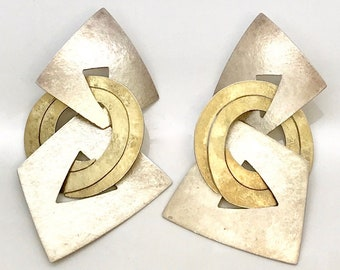 Signed Kanda Sterling Silver and Brass Pierced Earrings, Dangle Pierced Earrings, Kanda Earrings, Mixed Metal Earrings, Geometric Earrings