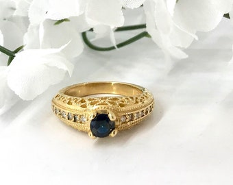 Yellow Gold Sapphire and Diamond Filigree Ring