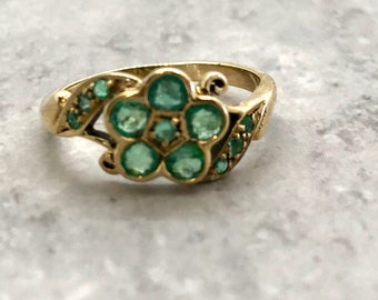 Yellow Gold Emerald Ring in Flower Design, May Birthstone Ring