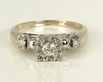 Vintage Diamond Engagement Ring, Diamond Promise Ring, Engagement Ring, Diamond Engagement Ring, Mid Century Diamond Engagement Ring