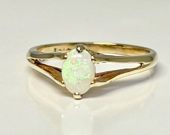 Vintage Opal Ring, Yellow Gold Opal Ring, October Birthstone, Birthstone Ring