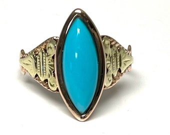 Antique Turquoise Ring, Two Color Turquoise Ring, Marquise Cut Turquoise Ring, Victorian Turquoise Ring