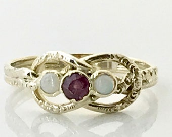 Yellow Gold Garnet and Opal Ring, Love Knot Style Ring, Infinity Style Ring, Vintage Garnet and Opal Ring