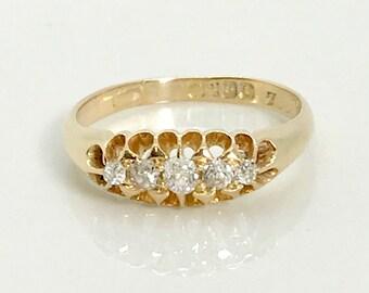 Yellow Gold English Diamond Band Ring, Antique English Cigar Type Band Ring, Hallmarked Ring, English Hallmarks, Antique Diamond Band Ring