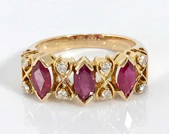 18 Karat Yellow Gold Vintage Ruby and Diamond Ring, Marquise Cut Rubies, Vintage Ruby Ring, Ruby Stacking Ring, July Birthstone Ring