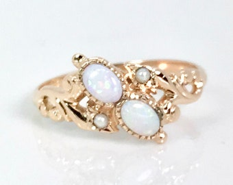 Victorian Opal and Pearl Ring, October Birthstone Ring, October Birthstone, Antique Opal Ring, Vintage Ring