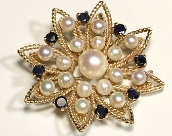 Yellow Gold Pearl and Blue Sapphire Sunburst Pin, Vintage Sunburst Brooch, Vintage Pearl and Blue Sapphire Brooch