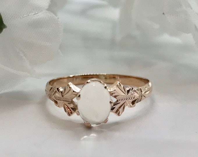 Victorian Yellow Gold Moonstone Ring, Antique Moonstone Ring, Antique Ring