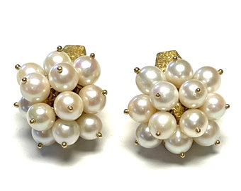 Vintage Yellow Gold Cultured Pearl Clip-On Earrings, Cultured Pearl Earrings, Clip-On Earrings, Yellow Gold Pearl Earrings, Pearl Earrings