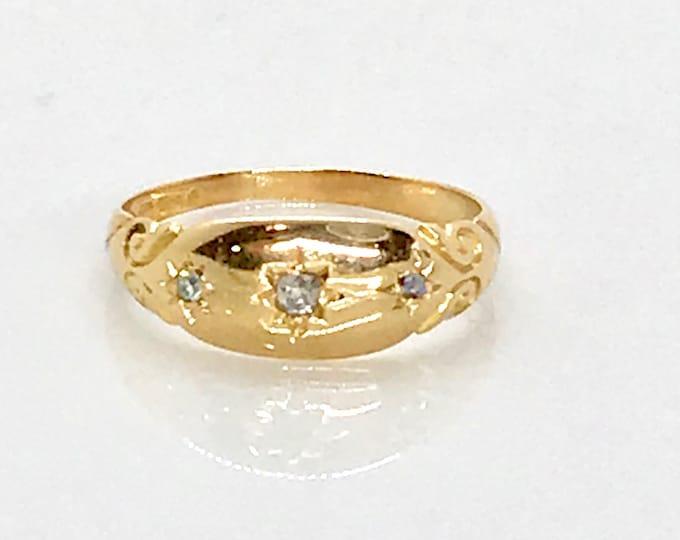 18 Karat Yellow Gold Diamond Band Ring, Cigar Band, Wedding Band, Hallmarked Ring, Old English, Hallmark
