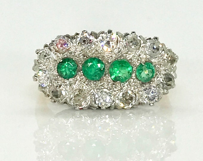 Featured listing image: 14 Karat Yellow Gold and Platinum Emerald and Diamond Ring, Vintage Emerald Ring, Diamond Ring, May Birthstone, Birthstone Ring