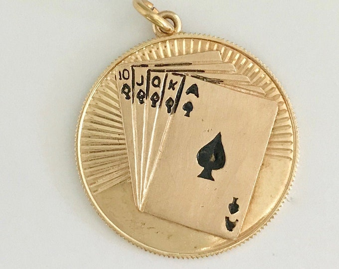 Yellow Gold and Black Enamel Charm/Pendant, Cards, Royal Flush, 10 Jack Queen King Ace of Spades