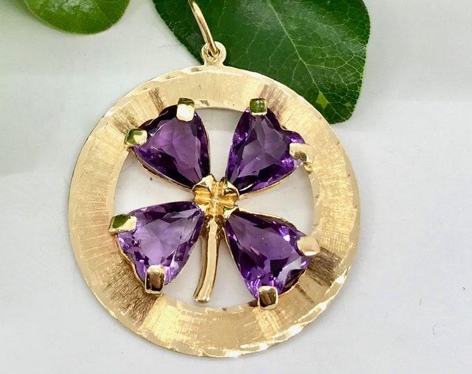 Yellow Gold Amethyst Four Leaf Clover Pendant/Charm, Vintage Charm, Vintage Pendant, Amethyst Pendant/Charm, February Birthstone