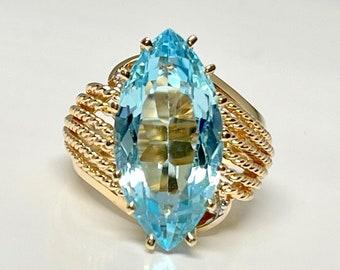 Vintage Yellow Gold Blue Topaz Ring, Vintage Blue Topaz Ring, Marquise Cut Blue Topaz Ring