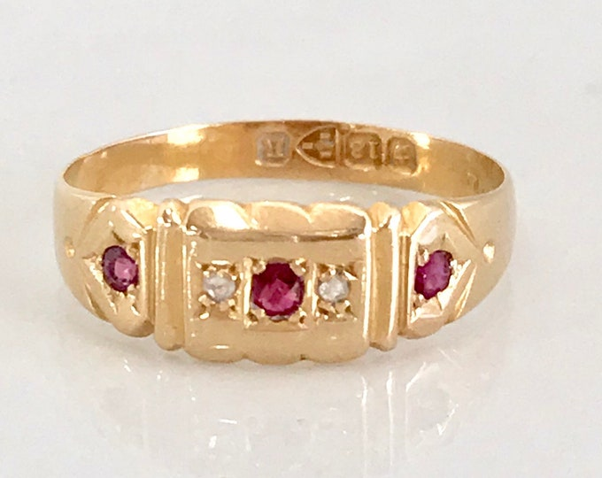 Victorian Ruby and Diamond Band Ring, Hallmarked Ring, English Hallmark, Antique 18 Karat Yellow Gold Ring, Diamond and Ruby Ring