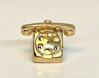 Yellow Gold Hello I Love U Telephone Charm, Vintage Telephone Charm, Moveable Charm, Yellow Gold Charm, Rotary Telephone Charm
