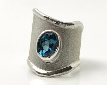 Sterling Silver Hand Crafted Blue Topaz Ring, Blue Topaz Band Ring, Hand Crafted Sterling Ring, December Birthstone Ring