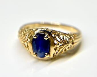 Filigree Sapphire Ring, Edwardian Style Blue Sapphire Ring, Yellow Gold Filigree Ring, Yellow Gold Sapphire Ring