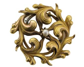 Yellow Gold Victorian Pearl Pin/Pendant, Victorian Pin with Pearl, Victorian Pendant with Pearl, Victorian Circle Pin, Antique Pin, Pin