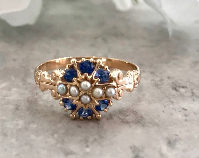 Victorian Yellow Gold Blue Sapphire and Pearl Ring