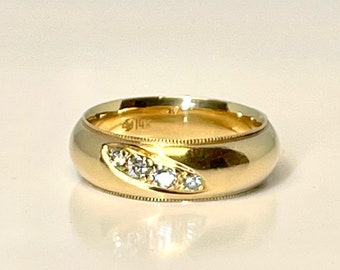 Yellow Gold Diamond Wedding Band Ring, Vintage Diamond Wedding Band, Diamond Wedding Band, Vintage Wedding Band