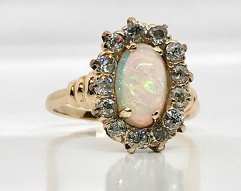 Yellow Gold Opal and Diamond Ring, October Birthstone Ring, Opal, Vintage Opal Ring, Vintage Jewelry